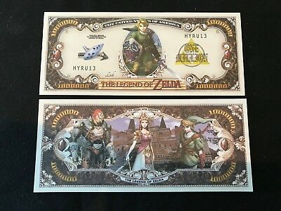 1 - Zelda Nintendo Novelty Note Fake Money with Protector Sleeve  Free Shipping