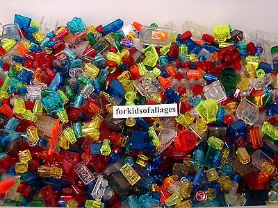 100 Lego Small Translucent Pieces 1x1 1x2 2x2 Tiny Caps Cones Cylinders Bricks+