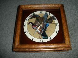 Vintage 1983 Beautiful Wood-Framed Ducks Clock Hensley Co.Pasadena