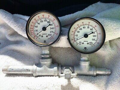 Usg Ametek Ammonia Pressure Gauge 30 Hg Vac 0-150 Psi 0-300 Psi 2 Stage