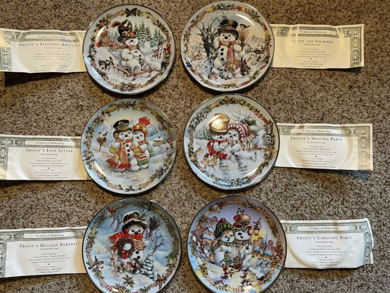 Set of 6: FROSTYTHE SNOWMAN Plates Franklin Mint Holiday Winter ADORABLE