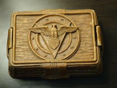 "Vintage Trinket Box WWII V Eagle Shield Military Patriotic Pressed Saw Dust 6"""