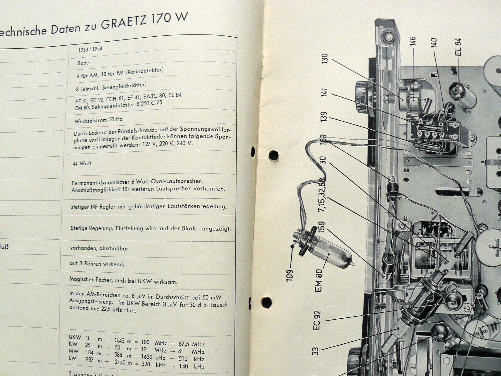 Graetz Super 170 W 1953/54 Original Sehr selten Historische Radio-Anleitung