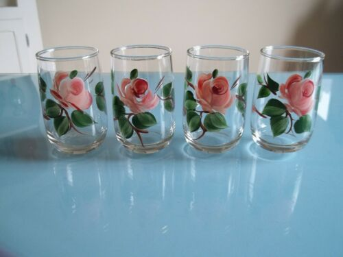 Vtg 4 PINK ROSE With Green Leaves Floral JUICE Glasses 4.5 oz