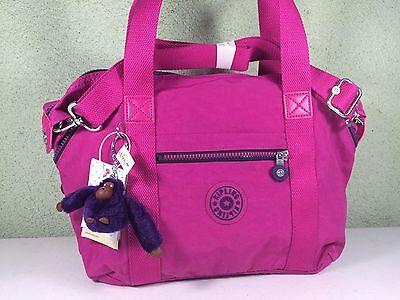 New Kipling Art U Very Berry Pink Purple Convertible Satchel Tote Crossbody Bag