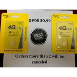 2  H20 H2o SIM Cards Wireless 3-in-1 Triple Mini Micro Nano 4G LTE Smart
