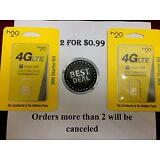 2  H20 H2o SIM Cards Wireless 3-in-1 Triple Mini Micro Nano 4G LTE Smart