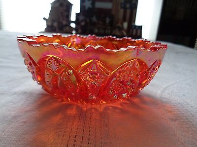Imperial Iridescent Red Carnival Glass Bowl