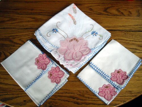 "Vintage 34"" Square Rose Applique Table Scarf  w/4 Napkins Cross Stitched Flowers"