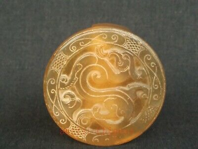 Collection Antique Chinese Jade Hand Carving Dragon Girdle Buckle Decoration