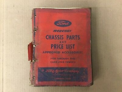 1938- 1946 Mercury Chassis Parts and Price List Advanced Accessories Catalog 2
