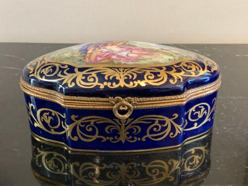 Antique 19th Porcelain Cobalt Blue Jewelry Casket Box with Signed Portrait