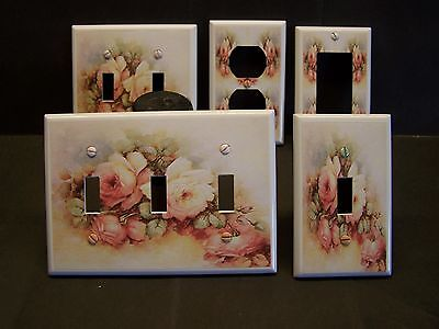 (PINK ROSES SO SHABBY BEDROOM & BATHROOM LIGHT SWITCH OR OUTLET COVER V434)