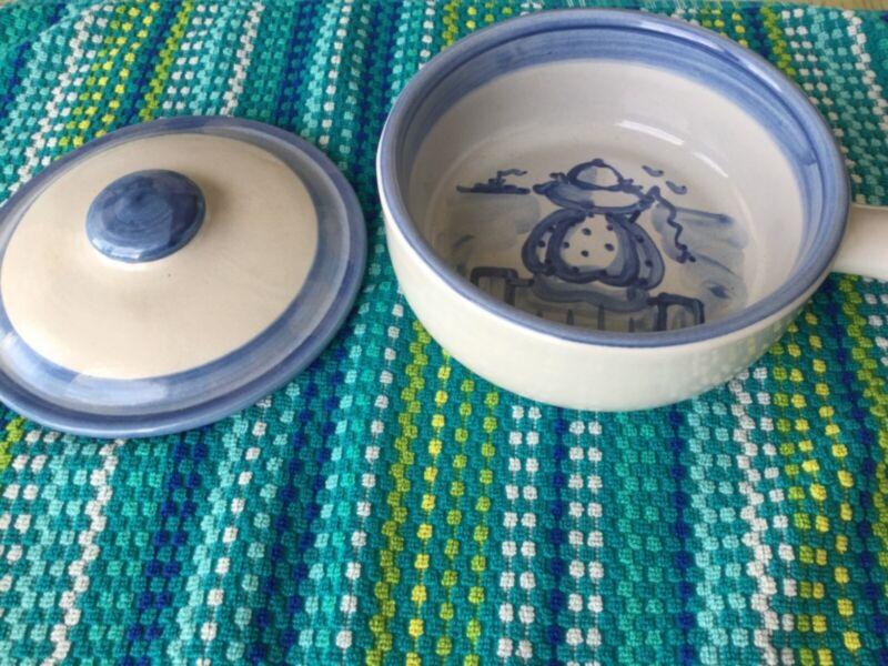 Hadley Pottery 1 qt. porringer - Fisherman pattern - NEW!
