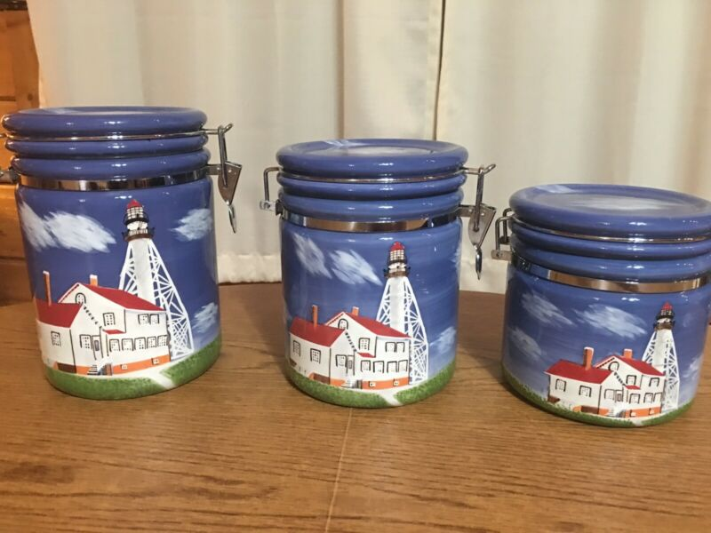BEAUTIFUL Set of 3 Lighthouse Canisters By Geo Z Left *NEW Without tags*