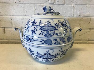 Antique German Meissen Porcelain Blue Onion Pattern Unusual Form Soup Tureen