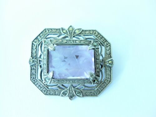 Art Deco Antique Sterling Silver Brooch W/ Carved Amethyst Raw Crystal Marcasite