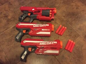 3 Mega Nerf Guns Loaded with Bullets