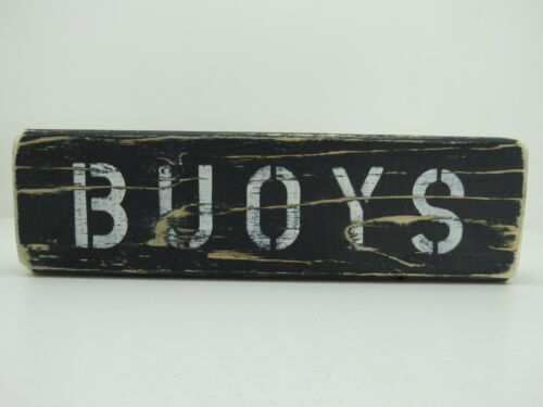 12 INCH WOOD HAND PAINTED BUOYS SIGN NAUTICAL SEAFOOD (#S663)