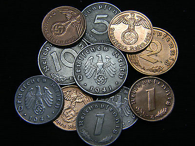 One Circulated Rare Nazi German Coin from Third Reich Hitler Era.
