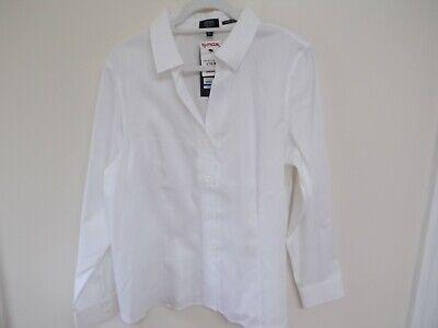 Jones New York Signature White Long Sleeve Button Down Shirt Size XL White Long Sleeve Button