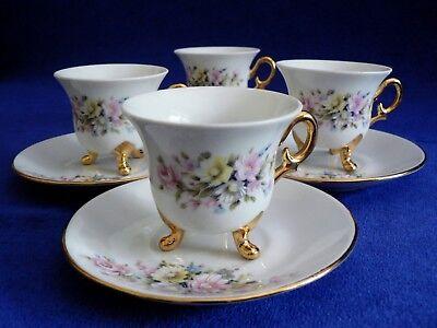 Floral Demitasse (Limoges Floral F & F Demi Tasse Marquis Depose Cups & Saucers set of 4, France)