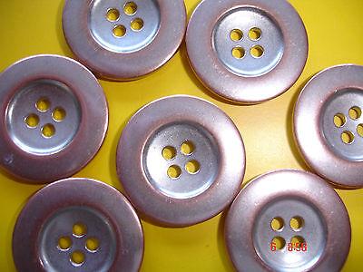 5 Knöpfe Metall rotsilber 19mm 4-Loch W96.6