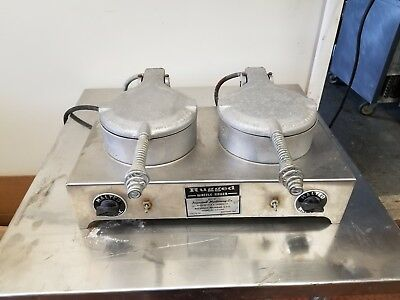 Rare Vintage F.S. Carbon Rugged Commercial Industrial Double Waffle Cone Baker
