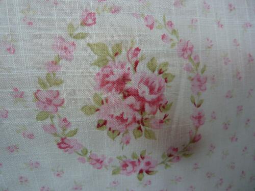 Yuwa Juliet Wreaths of Pink Roses on Cotton Slub  Lawn Soft Drape Fabric BTY