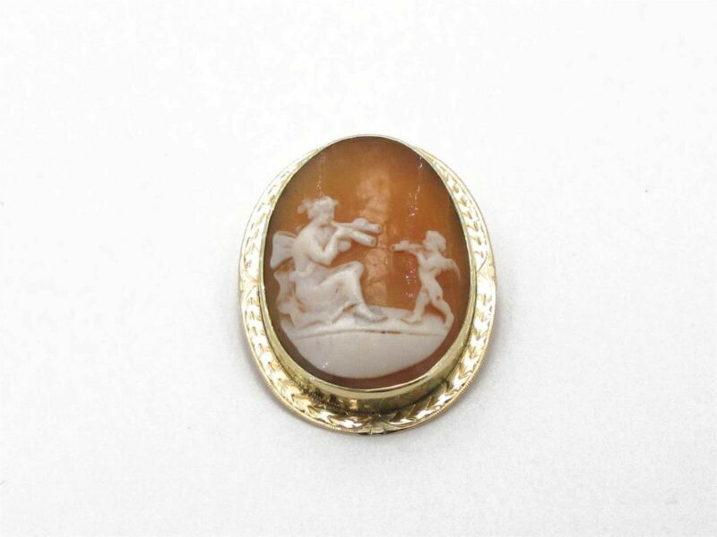 Antique Victorian 14k Yellow Gold Natural Coral Cameo Pin Brooch 7.1g i4026