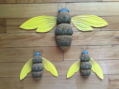 Whimsical Bumblebees Garden Trio Wall Art Indoor 3D Yellow Wall Sculpture