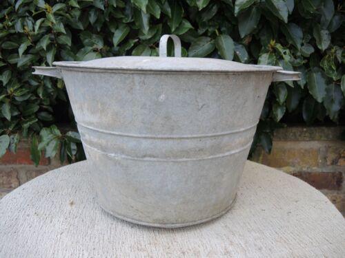 Vintage Galvanised Garden Planter Tin Bath with Lid 39 cm Diameter (414)