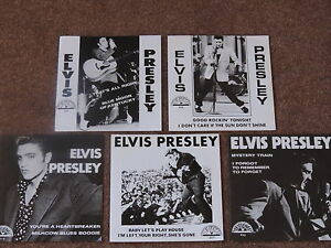 ELVIS PRESLEY - SET OF 5  SUN LABEL 45 rpm RECORDS IN PICTURE COVERS (Brand NEW)