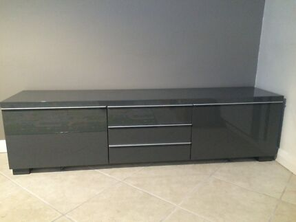 High Gloss tv Unit Grey tv Bench High-gloss Grey