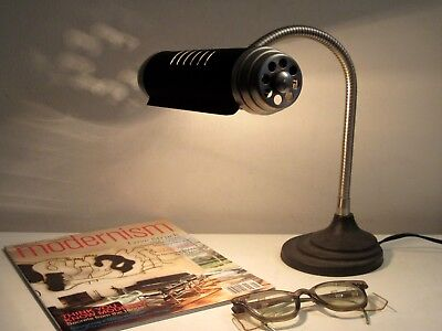VTG POTTERY BARN MACHINE AGE INDUSTRIAL GOOSENECK CAST IRON DESK LAMP STEAMPUNK