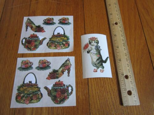 Victorian Rose Stickers Cat Purse Shoe Teapot Cups 1997 Vintage Collectible