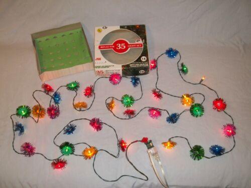 Vintage Christmas Tinsel Pom Pom Reflectors 35 Miniature String Light Set In Box
