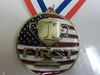 1st place Red, white & Blue gold medal, w/ engraving, 2.75