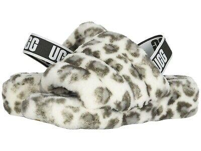 Women's Shoes UGG FLUFF YEAH SLIDE LEOPARD Sheepskin Slippers 1117153 WHITE
