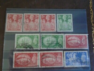 KGVI Shilling Stamp Accumulation Stockcard - GB incudes two Perfins