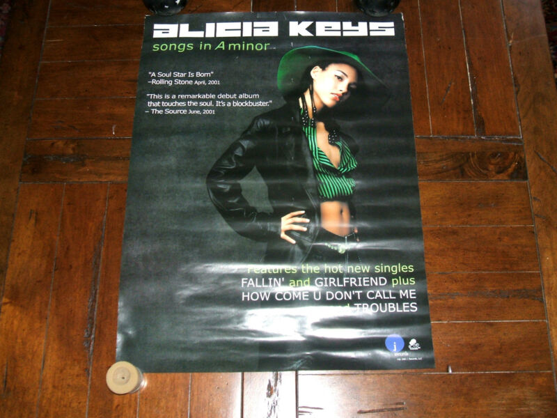 Alicia Keys 2001 Songs In A Minor Two-Sided PROMO POSTER Record Company Rare