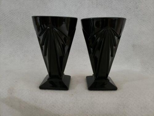 Vintage Indiana Glass Pyramid Black  8 Ounce Tumbler x 2  Art Deco