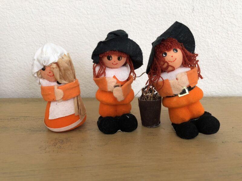 Vintage Flocked Thanksgiving Picks Pilgrims Orange Black Set Of 3