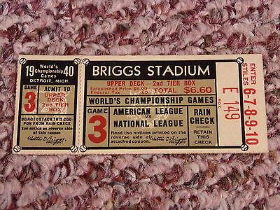 1940 World Series Ticket Game 3 Briggs Stadium Detroit Tigers Cincinnati Reds!
