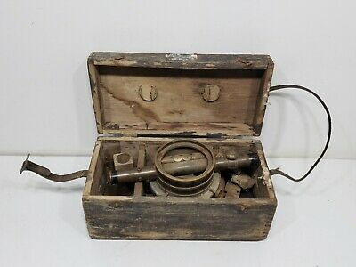 Vintage Surveying Equipment By Bostrom-brady With Wooden Box