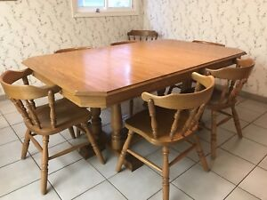 Solid Oak Kitchen Table + 10 chairs