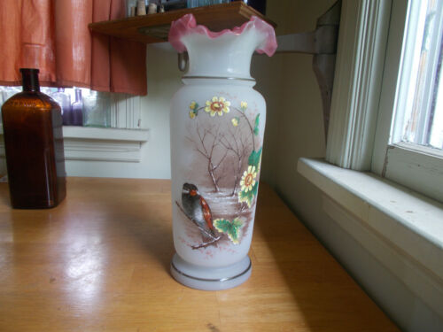 "1870s BEAUTIFUL HAND PAINTED LOVEBIRDS & FLOWERS PONTILED GLASS VASE 12 1/4""TALL"