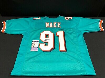 CAM WAKE MIAMI DOLPHINS SIGNED/AUTOGRAPHED CUSTOM AQUA JERSEY JSA COA S55562  Miami Dolphins Custom Jersey