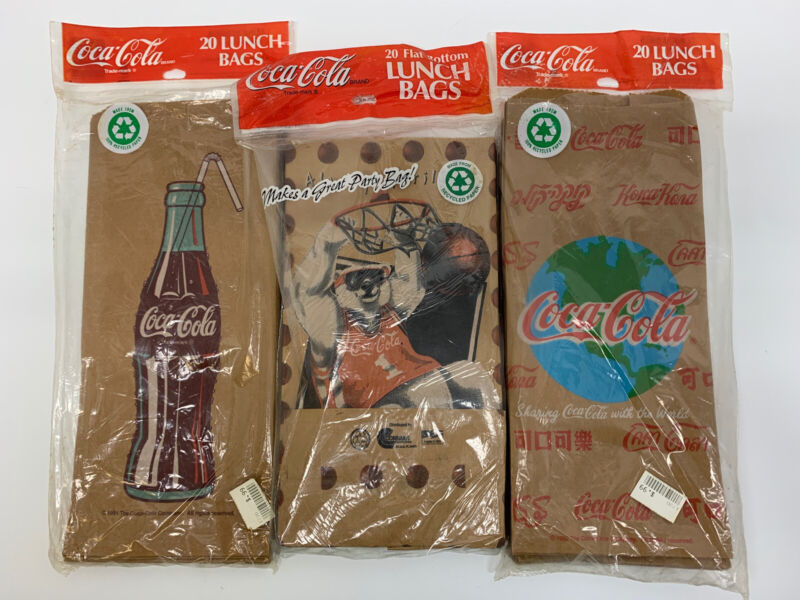 Coca-Cola Lunch Bags Sacks (Lot of 3) 51 bags Collectors