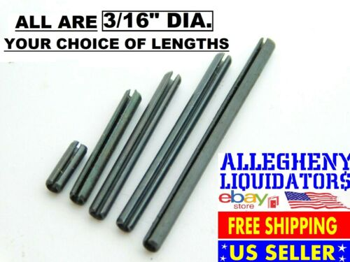 "VARIOUS LENGTHS x 3/16"" DIAMETER PLAIN BLACK STEEL ROLL SPRING PINS USA NH"